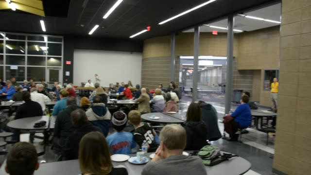 martin o'malley speaking at a town hall in waukee iowa also talking with voters after the town hall - allgemeine wahlen stock-videos und b-roll-filmmaterial