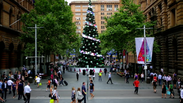 martin place sydney christmas crowds - christmas shopping stock videos and b-roll footage