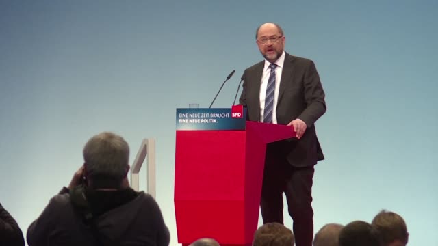 Martin Schulz leader of Germany's divided Social Democrats urges the party to choose to pursue a coalition deal with Chancellor Angela Merkel's...