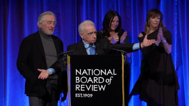 martin scorsese and robert deniro accept award for the irishman, on how the film came to be at the national board of review annual awards gala at... - martin scorsese stock videos & royalty-free footage