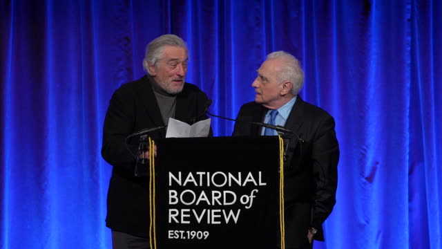 """martin scorsese and robert deniro on being the """"three amigos"""", or the """"unholy trinity"""" as they accept the """"icon"""" award at the national board of... - martin scorsese stock videos & royalty-free footage"""