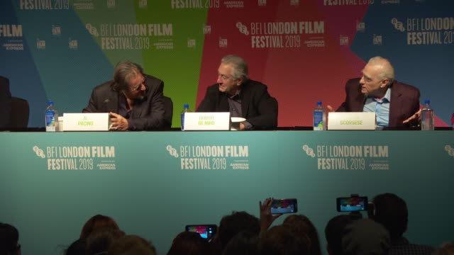 interview martin scorsese director and robert de niro actor on why it took so long to make 'the irishman' at 'the irishman' press conference 63rd... - the times bfi london film festival stock videos & royalty-free footage