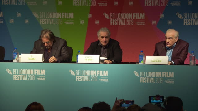 interview martin scorsese director on what was the biggest challenge about making 'the irishman' at 'the irishman' press conference 63rd bfi london... - the times bfi london film festival stock videos & royalty-free footage