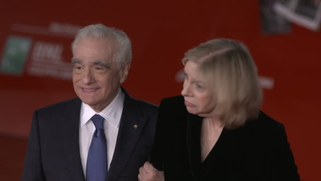 """martin scorsese, helen morris attend """"the irishman"""" red carpet during the 14th rome film festival on october 21, 2019 in rome, italy. - martin scorsese stock videos & royalty-free footage"""