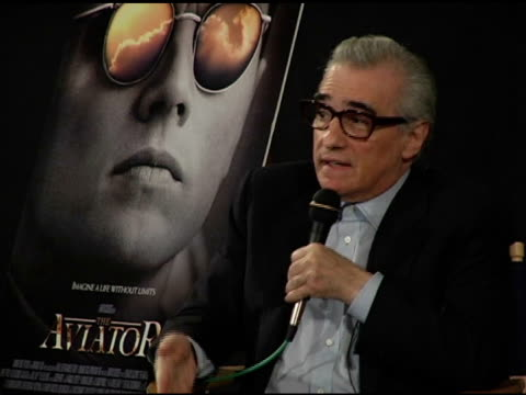 martin scorsese on protraying howard hughes ocd on screen at the prescreening of 'the aviator' presented by friends of npi at the egyptian theatre in... - howard hughes stock videos and b-roll footage