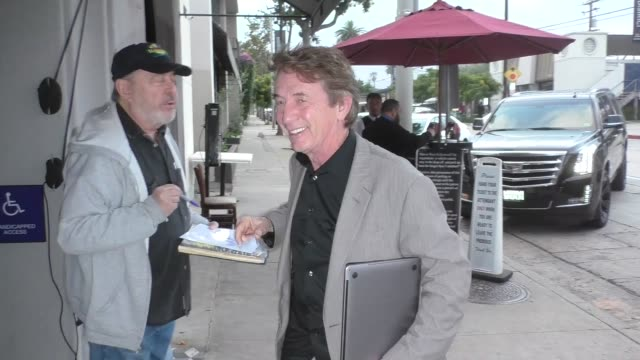 martin short greets fans outside craig's restaurant in west hollywood in celebrity sightings in los angeles, - martin short stock videos & royalty-free footage