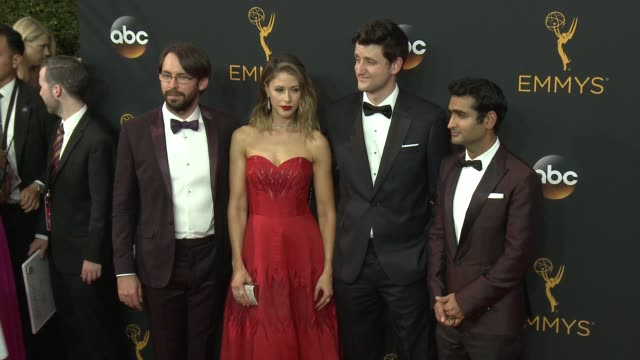 Martin Starr Kumail Nanjiani and Amanda Crew at the 68th Annual Primetime Emmy Awards Arrivals at Microsoft Theater on September 18 2016 in Los...