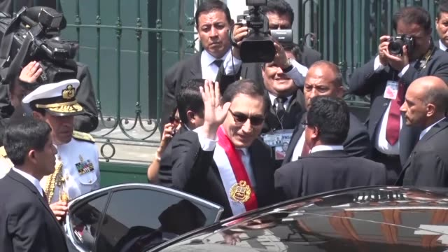 martin vizcarra leaves congress after being sworn in as peru's new president - martín vizcarra stock videos & royalty-free footage