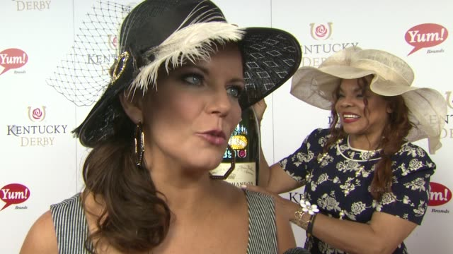 martina mcbride on what it's like to sing the national anthem here at moet & chandon toasts the 139th kentucky derby at churchill downs on may 04,... - martina mcbride stock videos & royalty-free footage