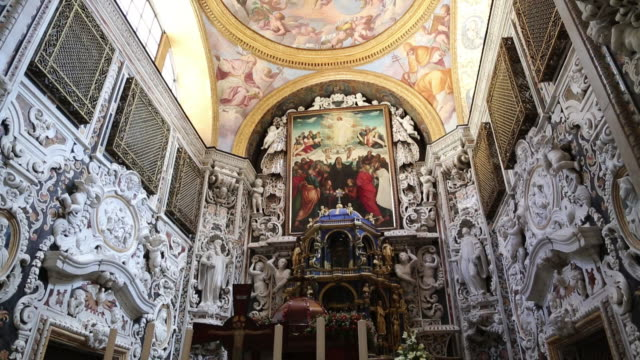 Martorana (Santa Maria dell'Ammiraglio) church, apse with decorations and painting representing the Assumption of the Virgin, Palermo,  Sicily.