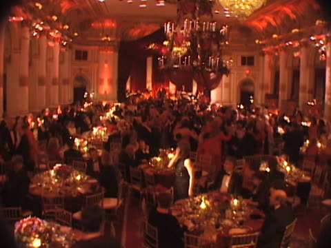 marty richards famous charity red ball on valentines day february 14, 1999. many celebrities as guests and honorees. - party social event video stock e b–roll