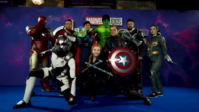Marvel fans attend the 'Avengers Endgame' UK Fan Event at Picturehouse Central on April 10 2019 in London England