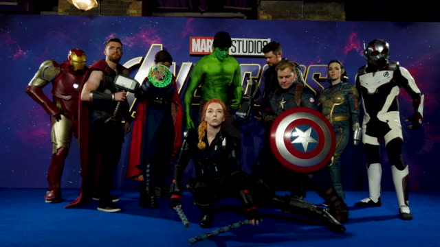 Marvel fans during the 'Avengers Endgame' UK Fan Event at Picturehouse Central on April 10 2019 in London England
