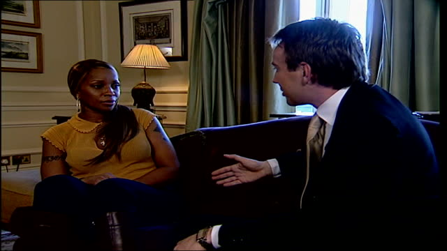 London INT Mary J Blige interview SOT respect U2 singer Bono/ like to give back to the universe