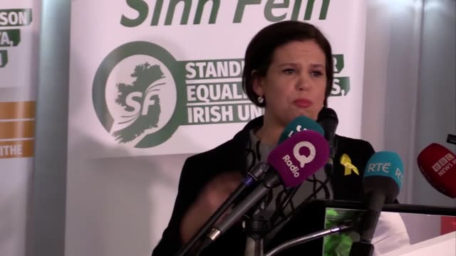 mary lou mcdonald and gerry adams give speeches as ms mcdonald is set to become the new sinn féin president being the only candidate nominated to... - sinn fein stock videos & royalty-free footage