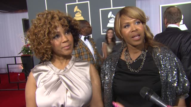 mary mary on whitney houston, being nominated, and on the event at 54th annual grammy awards - arrivals on 2/12/12 in los angeles, ca - whitney houston stock-videos und b-roll-filmmaterial