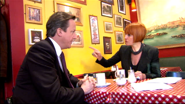 mary portas report on saving high street: portas meets david cameron; england: london: int david cameron mp and mary portas meeting market traders... - prime minister stock-videos und b-roll-filmmaterial