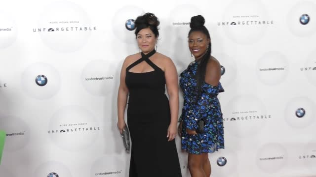 mary sohn and lyric lewis at the 16th unforgettable gala at the beverly hilton hotel on december 09, 2017 in beverly hills, california. - the beverly hilton hotel stock videos & royalty-free footage