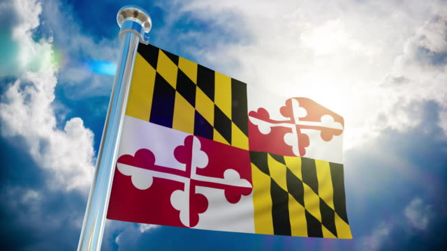 4k - maryland flag | loopable stock video - maryland us state stock videos & royalty-free footage