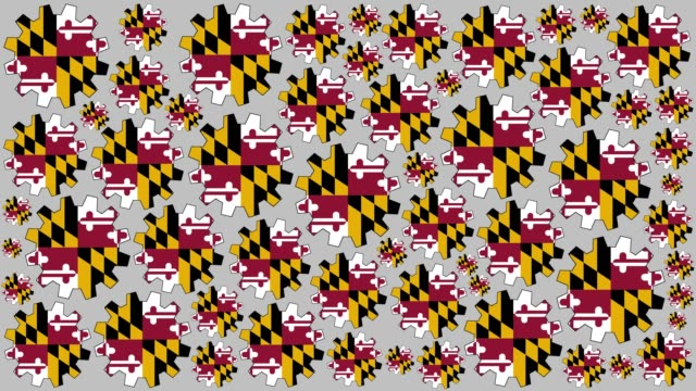 maryland us state flag gears spinning background - maryland us state stock videos & royalty-free footage