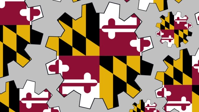 maryland us state flag gears spinning background zooming out - maryland us state stock videos & royalty-free footage
