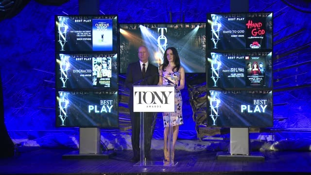 mary-louise parker and bruce willis announce nominees for best actor in a leading role in a musical, best actress in a leading role in a musical,... - revival stock videos & royalty-free footage