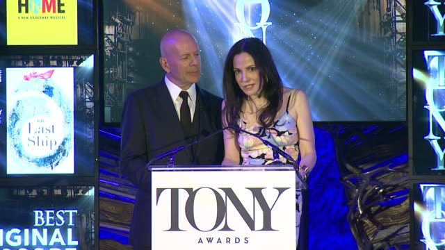 speech marylouise parker and bruce willis announce nominees for best book of a musical best original score at 2015 tony award nominations at the... - bruce willis stock videos and b-roll footage