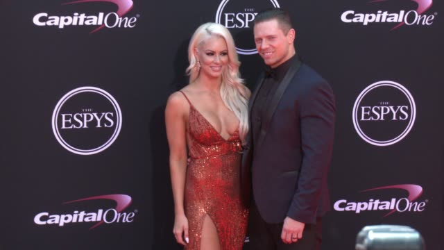 vídeos de stock, filmes e b-roll de maryse ouellet michael mizanin at the 2017 espys in los angeles ca - espy awards