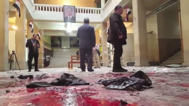 mas de 25 personas murieron en menos de dos horas en dos atentados suicidas cometidos en un restaurante y un tribunal de damasco la capital de siria... - restaurante stock videos & royalty-free footage