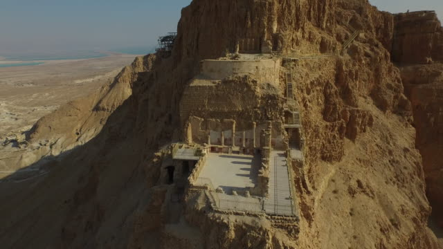 masada, aerial view of the unesco world heritage site, israel - archaeology stock videos & royalty-free footage