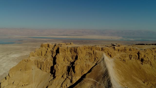 masada, aerial view of the unesco world heritage site, israel - archäologie stock-videos und b-roll-filmmaterial