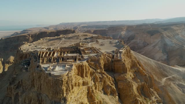 masada, aerial view of the unesco world heritage site, israel - old ruin stock videos & royalty-free footage
