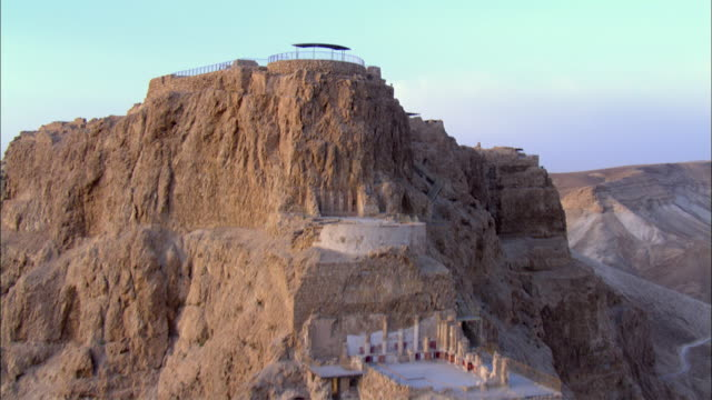 aerial masada at sunrise, judea desert, israel - mesa stock videos and b-roll footage