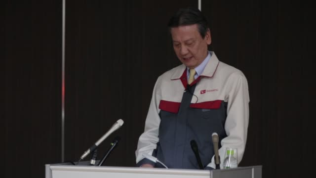 masanori mitsui, president of daihatsu motor co., speaks during a media briefing at the daihatsu motor kyushu co. oita plant in nakatsu, oita... - automobilindustrie stock-videos und b-roll-filmmaterial