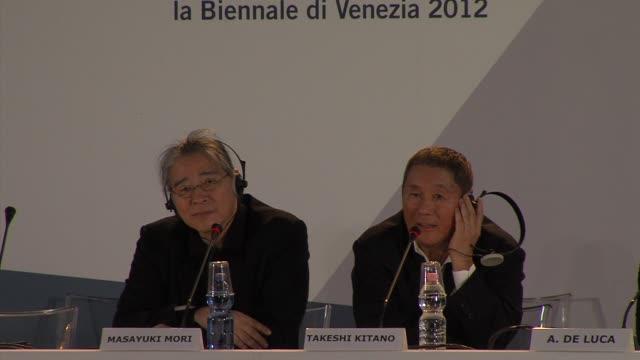 Masayuki Mori Takeshi Kitano at Outrage Beyond Press Conference 69th Venice Film Festival on 9/3/12 in Venice Italy
