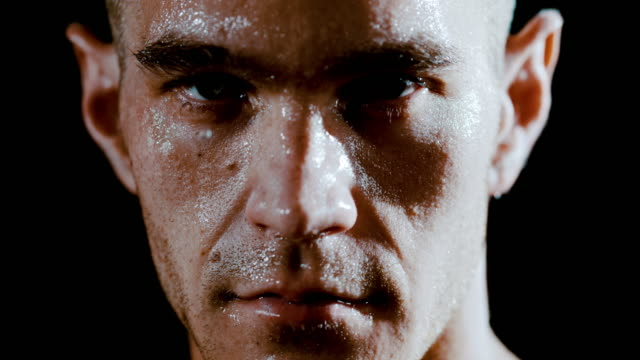 vídeos de stock e filmes b-roll de slo mo masculine man covered in sweat - body building