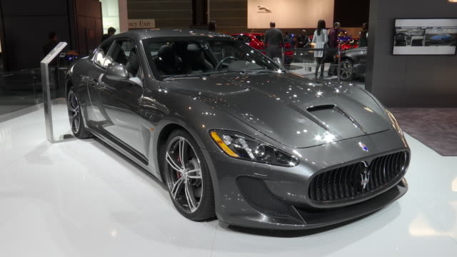 maseri exhibit at the auto show / xws ha front end of car zo xws ha front quarter passenger side view / zo ws front quarter passenger side of car /... - driver's license stock videos and b-roll footage