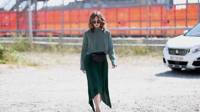 masha sedgwick wearing green midi skirt blouse and belt bag seen outside by malene birger during the copenhagen fashion week spring/summer 2019 on... - skirt stock videos & royalty-free footage