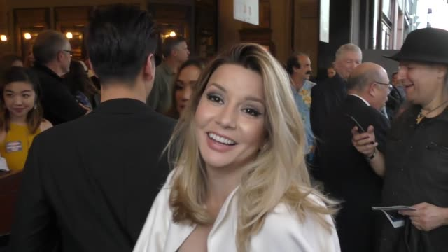 masiela lusha is asked about her musical talent outside the pantages theater in hollywood in celebrity sightings in los angeles, - パンテージスシアター点の映像素材/bロール