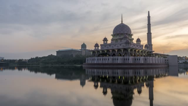 masjid putrajaya time-lapse - mosque stock videos & royalty-free footage