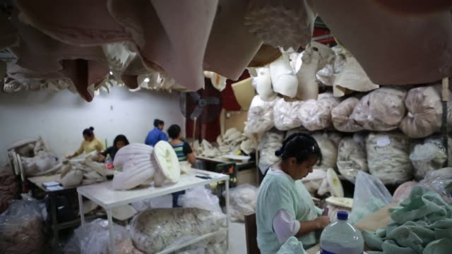 mask designers work on oil based modeling clay for a new mold for a mask at the rev mask company in cuernavaca mexico wide shots of mask makers... - airbrush stock videos & royalty-free footage