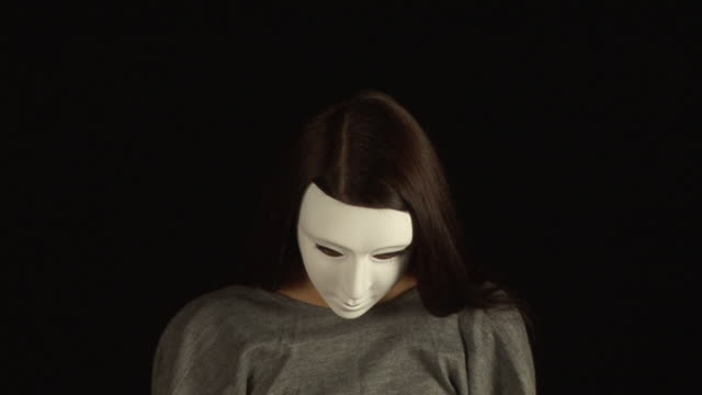 Masked Girl - with White Mask, HD & PAL