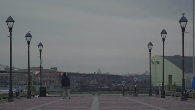 masked man walks on a pier at the inner harbor while pigeons take flight during the coronavirus pandemic on january 8, 2021 in baltimore, maryland.... - wide angle stock videos & royalty-free footage