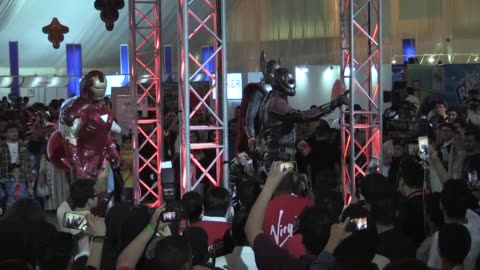 masks, costumes and characters of all types gather in the red sea city of jeddah for the opening day of saudi arabia's first comic con event - jiddah stock videos & royalty-free footage