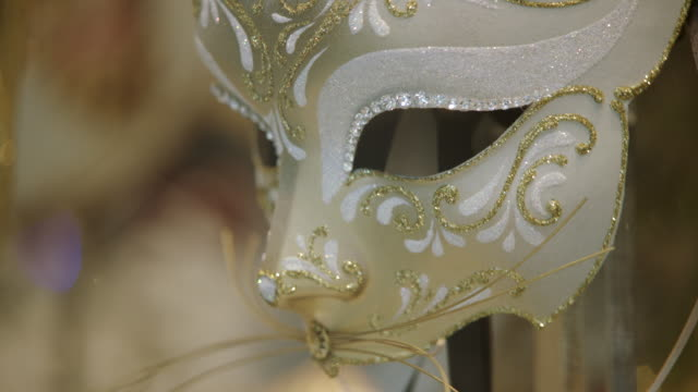 cu td of masquerade mask / venice, italy - mask disguise stock videos & royalty-free footage