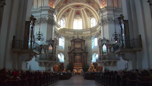 ws tu mass at salzburg cathedral / salzburg, austria - apse stock videos & royalty-free footage