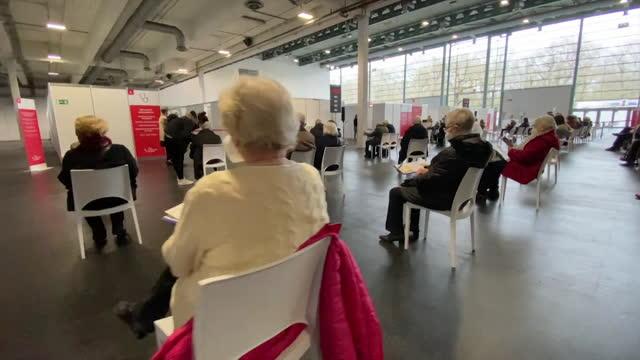 "mass covid-19 vaccination centre in bremen, germany - ""bbc news"" stock-videos und b-roll-filmmaterial"