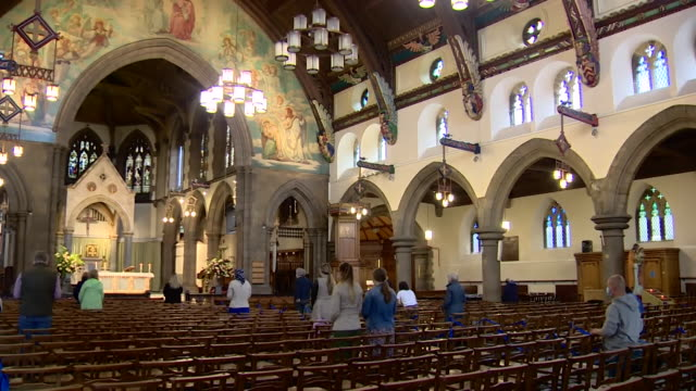 mass in st mary's cathedral in edinburgh as church services resume in scotland after coronavirus lockdown - church stock videos & royalty-free footage