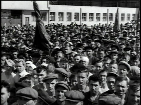 ws mass meeting at tractor plant / stalingrad russia - volgograd stock videos & royalty-free footage