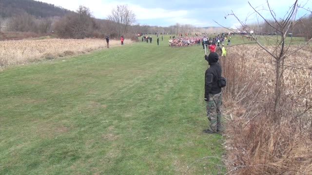Mass of runners head out and on course in cross country race